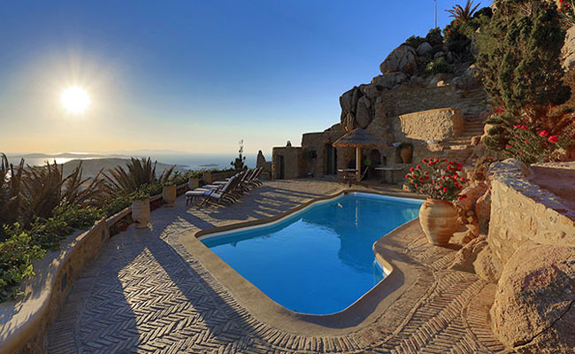 Greek Island luxury villa rental pool with view