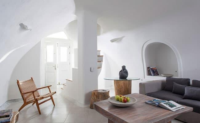 santorini villa rental stylish interior